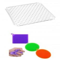 Rewel Bulaşık Yıkama Silikonlu Sünger 3 Boy + Lavabo Buzluk Halısı Hediyeli  881057