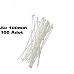 2,5x 100mm ( 10cm) BEYAZ PLASTİK KABLO BAĞI 100 ADET 341010