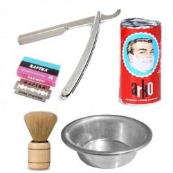 6 Parça Tıraş Seti Fırça + Sabun + Kase + Ustura + 20'li Jilet  850097