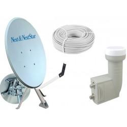 80 cm Next NextStar Ofset Çanak Anten Full Set+İkili Lnb+ 25 Mt Anten Kablosu 150021